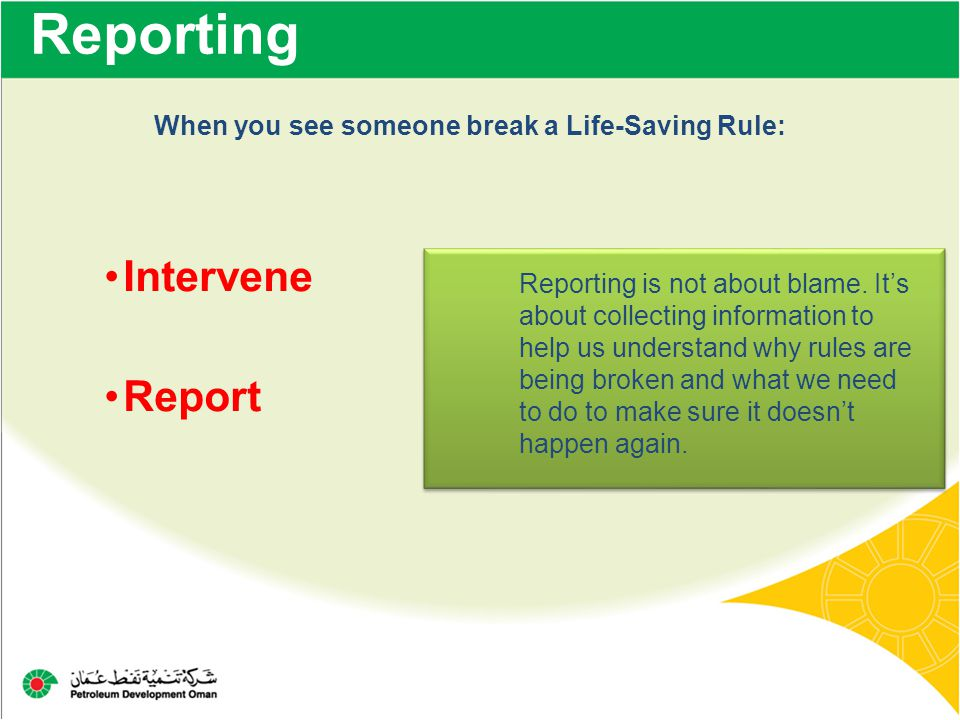 Reporting Intervene Report