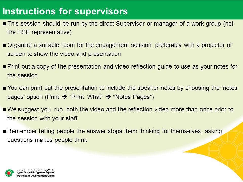 Instructions for supervisors