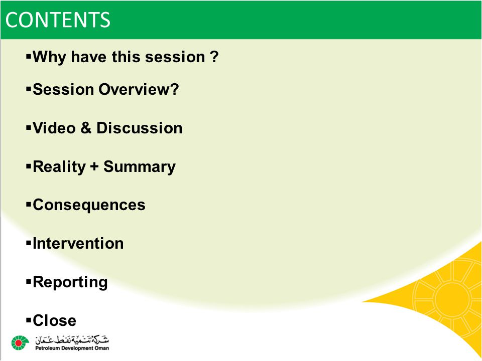 CONTENTS Why have this session Session Overview Video & Discussion