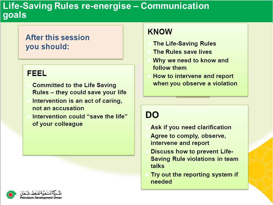 Life-Saving Rules re-energise – Communication goals