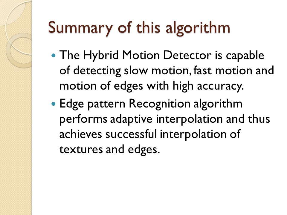 Summary of this algorithm