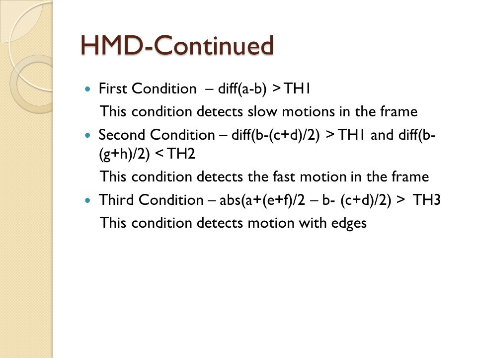 HMD-Continued First Condition – diff(a-b) > TH1