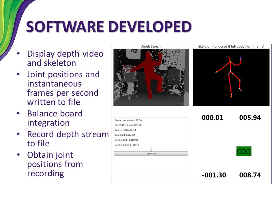 SOFTWARE DEVELOPED Display depth video and skeleton