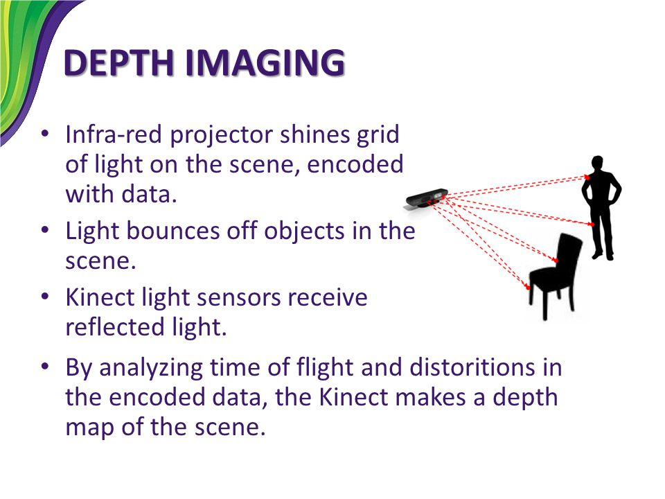 DEPTH IMAGING Infra-red projector shines grid of light on the scene, encoded with data. Light bounces off objects in the scene.