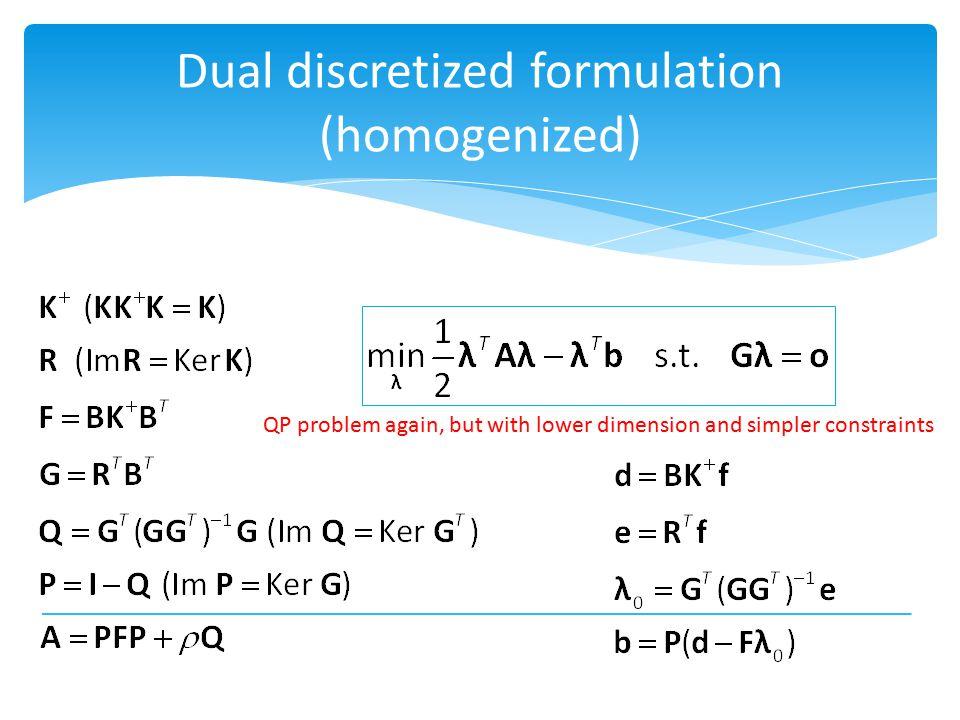 Dual discretized formulation (homogenized)