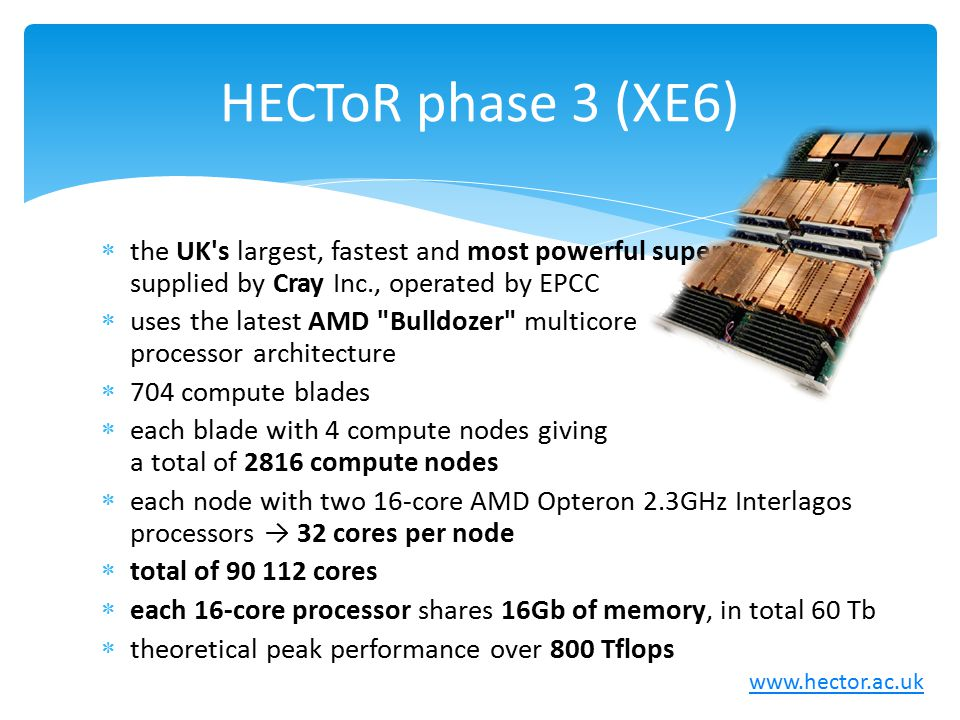 HECToR phase 3 (XE6) the UK s largest, fastest and most powerful supercomputer supplied by Cray Inc., operated by EPCC.