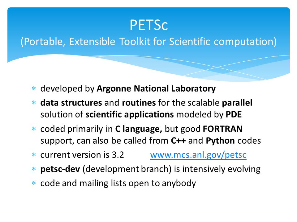 PETSc (Portable, Extensible Toolkit for Scientific computation)