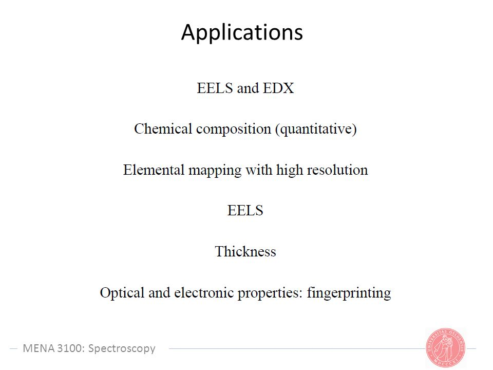 Applications MENA 3100: Spectroscopy MENA 3100: Spectroscopy