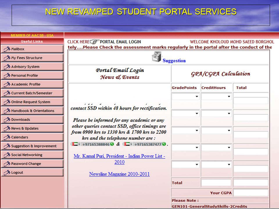 NEW REVAMPED STUDENT PORTAL SERVICES