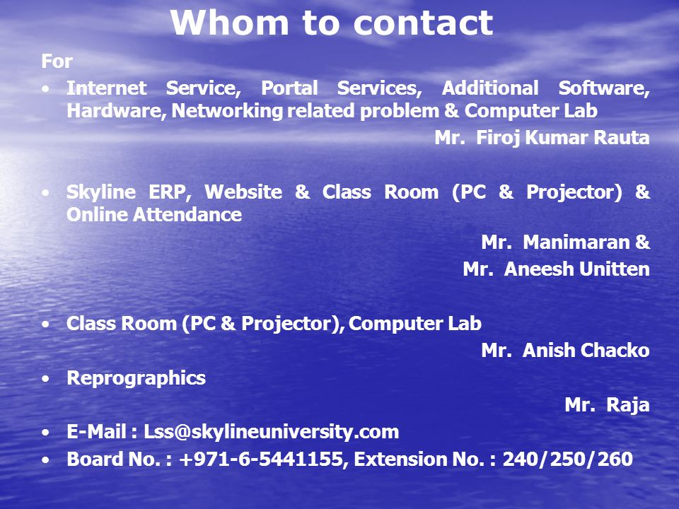 Whom to contact For. Internet Service, Portal Services, Additional Software, Hardware, Networking related problem & Computer Lab.
