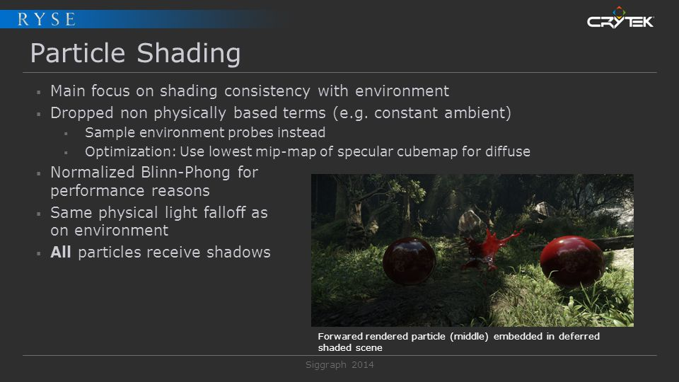 Particle Shading Main focus on shading consistency with environment