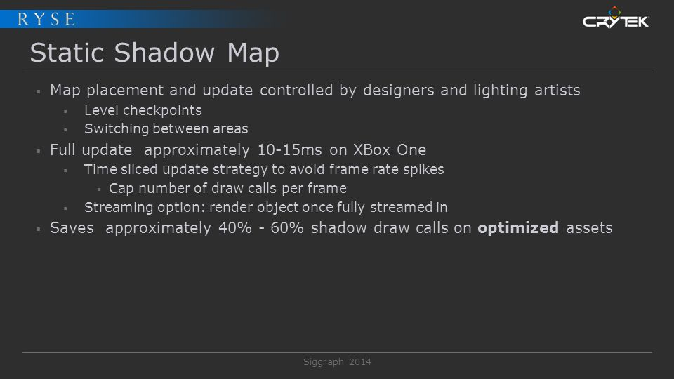 Static Shadow Map Map placement and update controlled by designers and lighting artists. Level checkpoints.