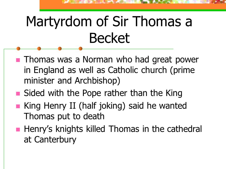 Martyrdom of Sir Thomas a Becket