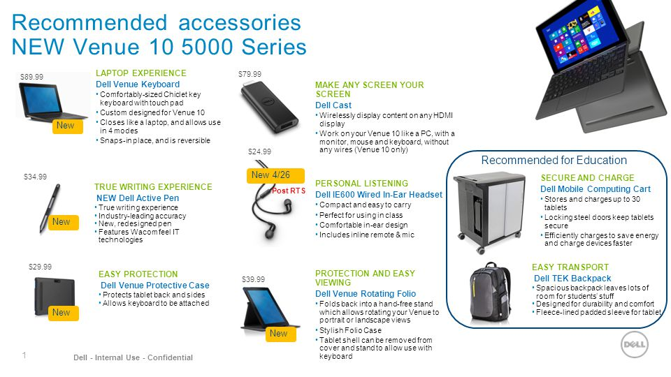 Recommended accessories NEW Venue 10 5000 Series