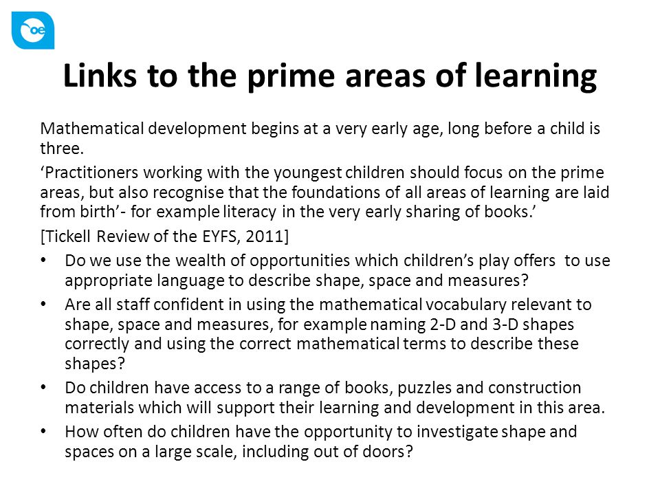 Links to the prime areas of learning