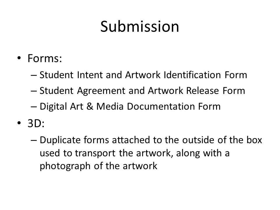 Submission Forms: 3D: Student Intent and Artwork Identification Form