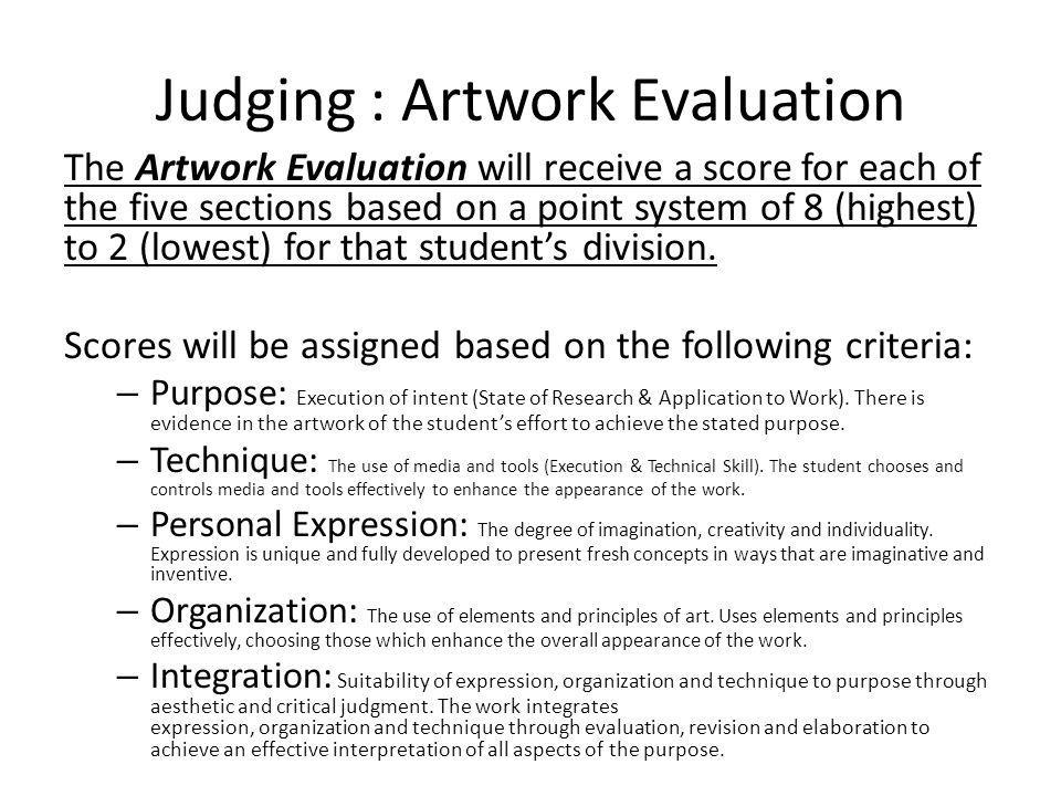 Judging : Artwork Evaluation