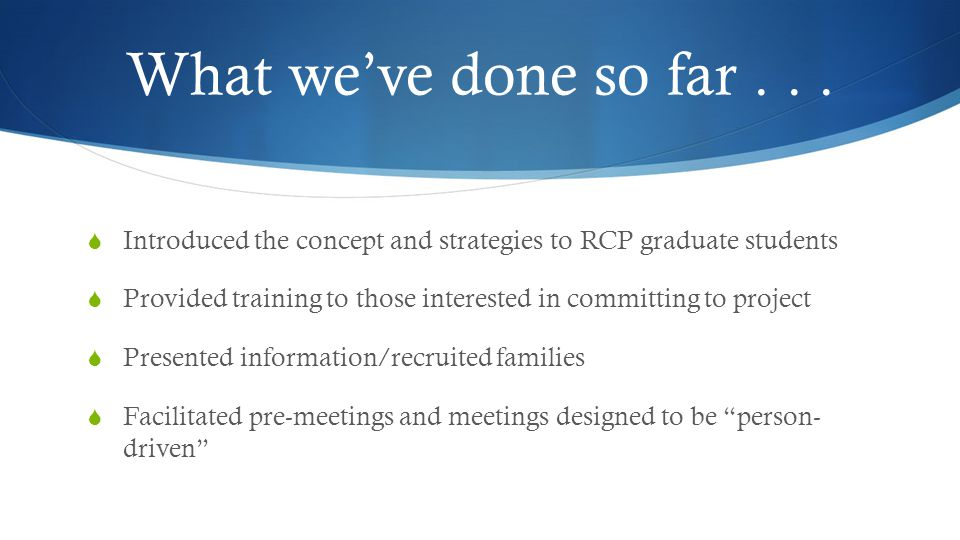 What we've done so far . . . Introduced the concept and strategies to RCP graduate students.
