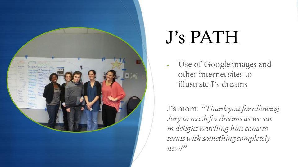 J's PATH Use of Google images and other internet sites to illustrate J's dreams.