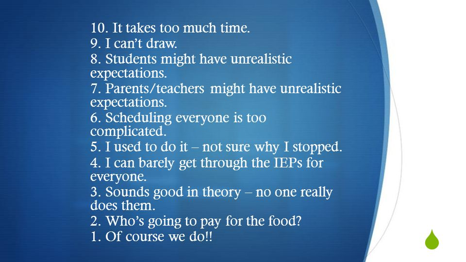 10. It takes too much time. 9. I can't draw. 8. Students might have unrealistic expectations.