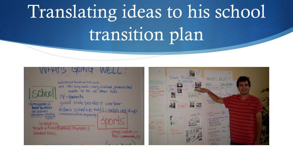 Translating ideas to his school transition plan