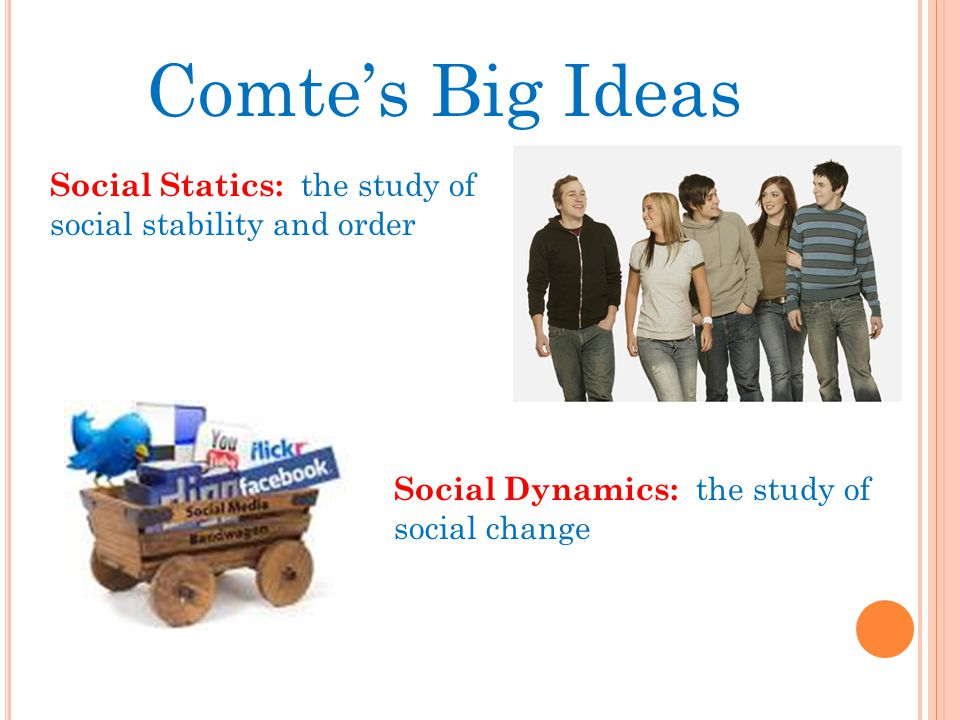 Comte's Big Ideas Social Statics: the study of