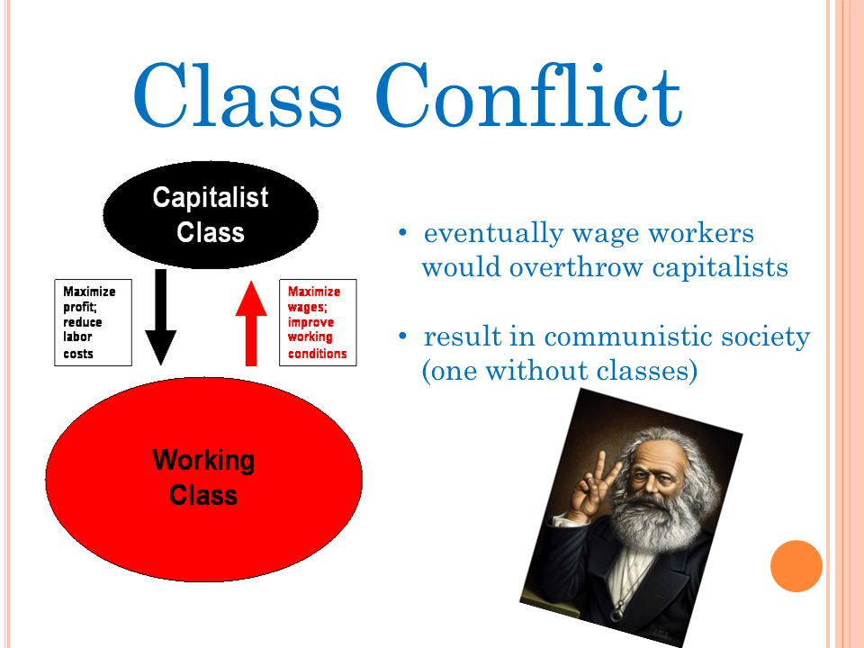 Class Conflict eventually wage workers would overthrow capitalists