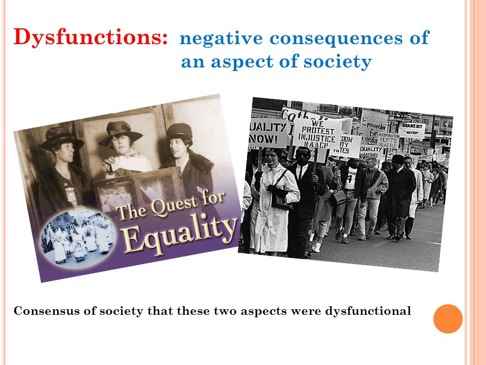 Dysfunctions: negative consequences of an aspect of society