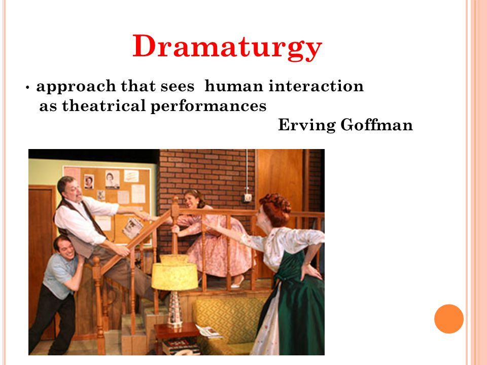 Dramaturgy as theatrical performances Erving Goffman