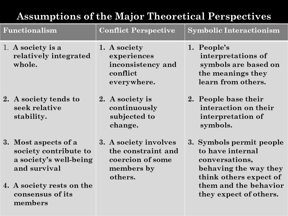 Assumptions of the Major Theoretical Perspectives