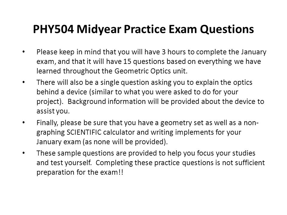 PHY504 Midyear Practice Exam Questions