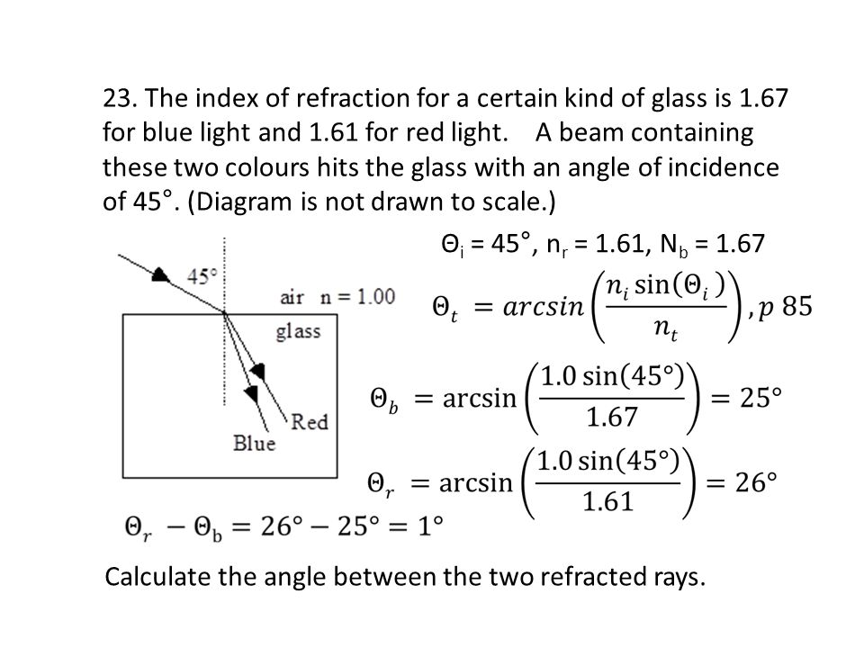 Calculate the angle between the two refracted rays.