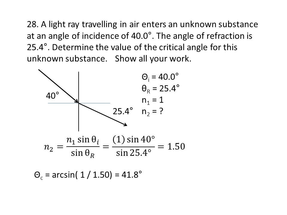 28. A light ray travelling in air enters an unknown substance at an angle of incidence of 40.0°. The angle of refraction is 25.4°. Determine the value of the critical angle for this unknown substance. Show all your work.