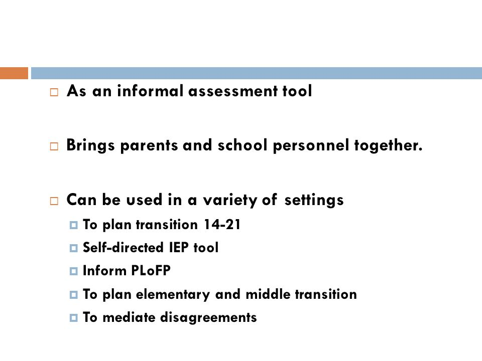 As an informal assessment tool