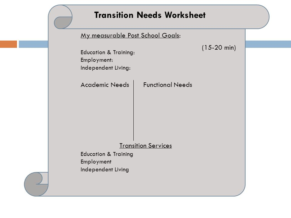 Transition Needs Worksheet
