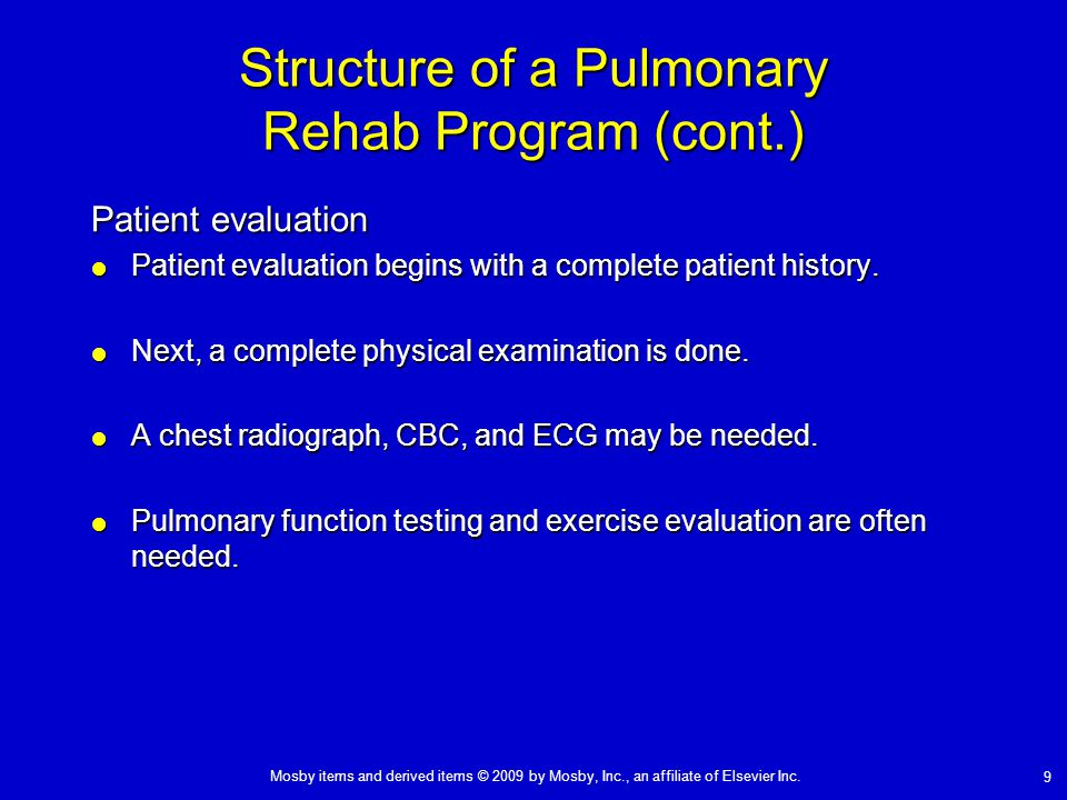 Structure of a Pulmonary Rehab Program (cont.)