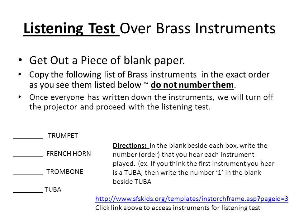 Listening Test Over Brass Instruments