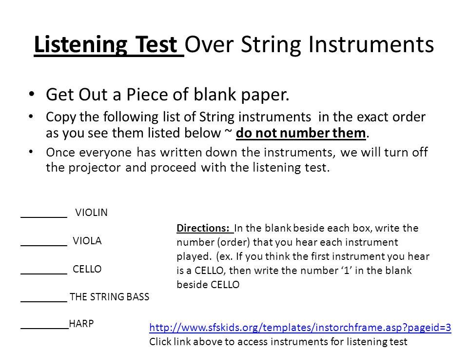 Listening Test Over String Instruments