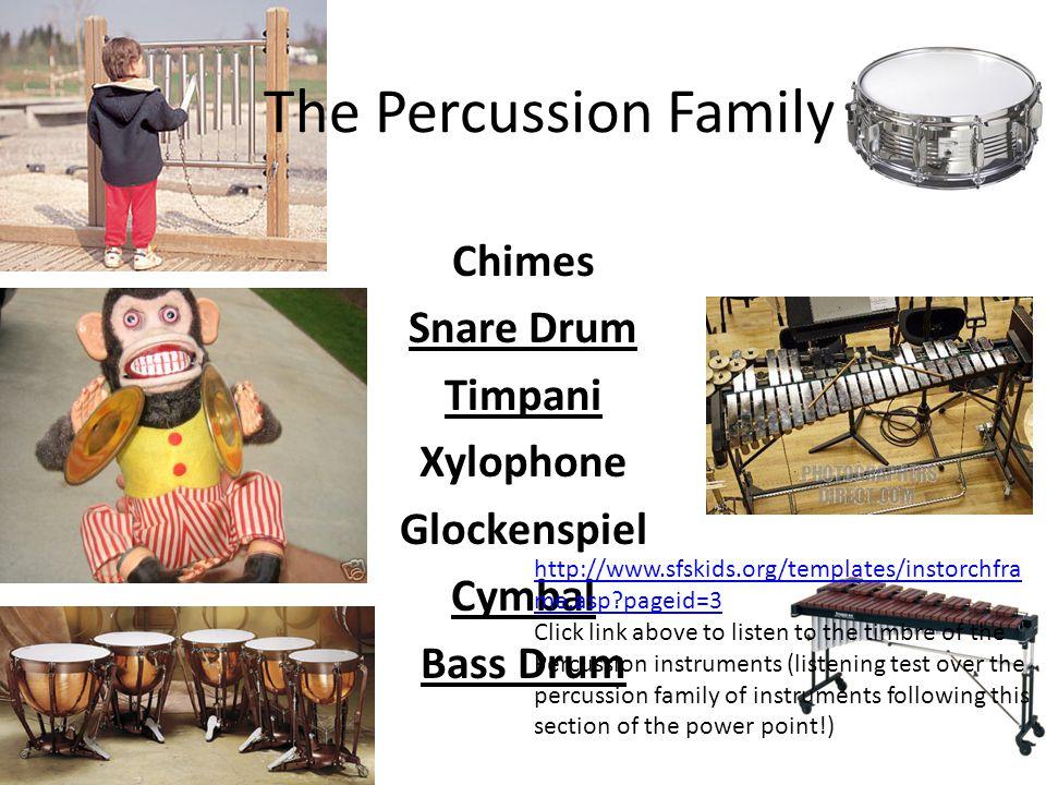 Chimes Snare Drum Timpani Xylophone Glockenspiel Cymbal Bass Drum