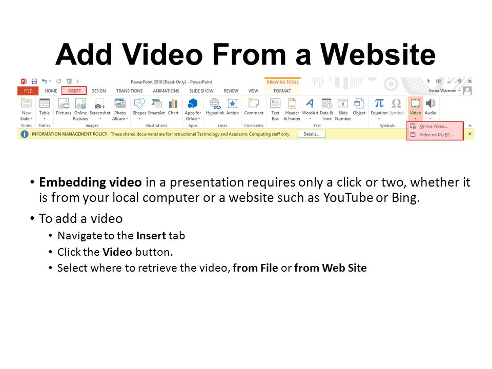 Add Video From a Website