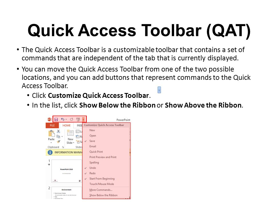 Quick Access Toolbar (QAT)