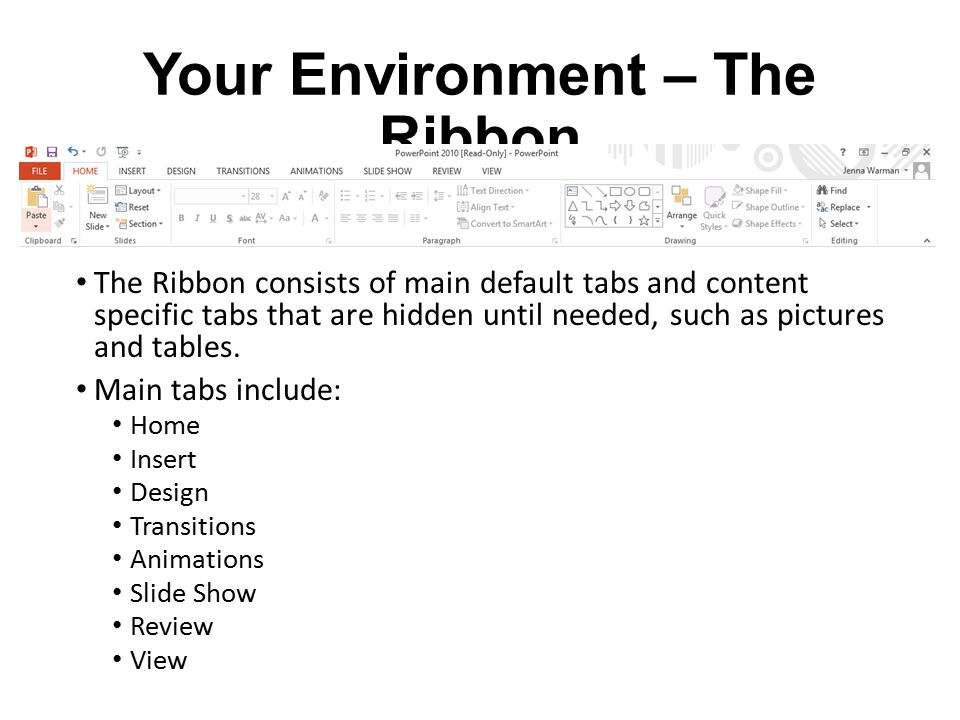 Your Environment – The Ribbon