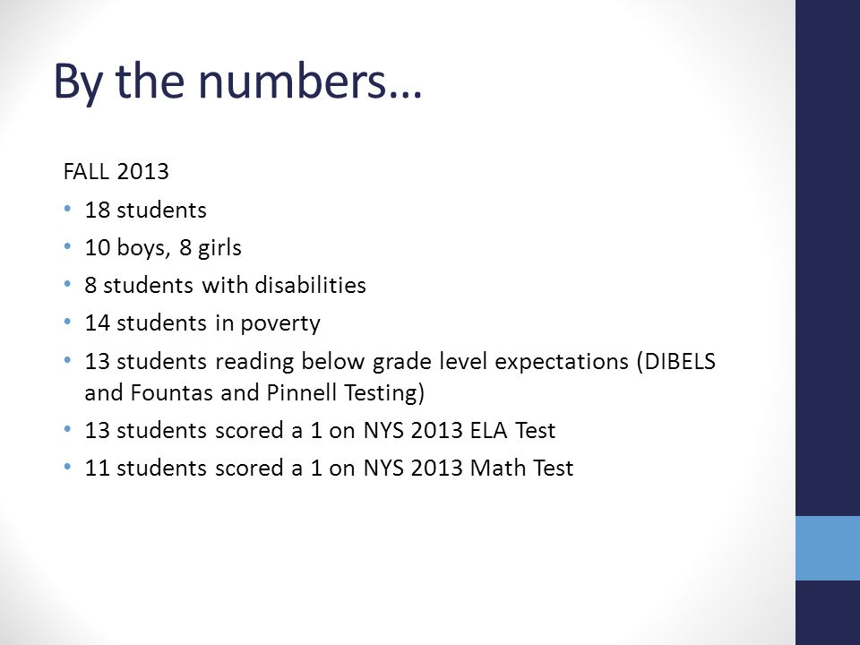 By the numbers… FALL 2013 18 students 10 boys, 8 girls