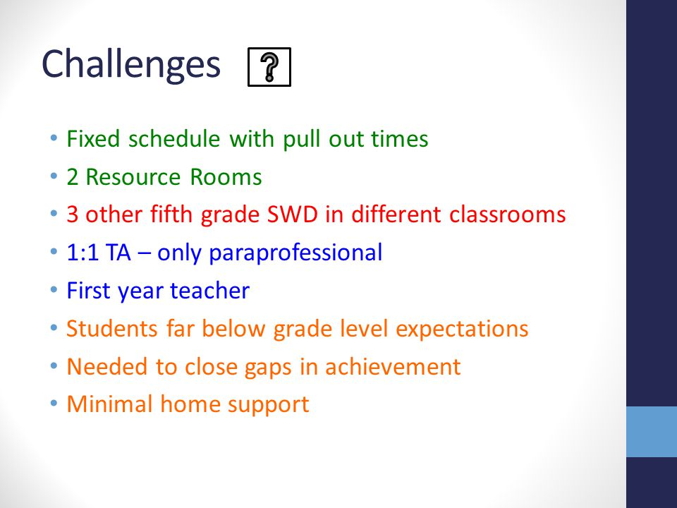 Challenges Fixed schedule with pull out times 2 Resource Rooms