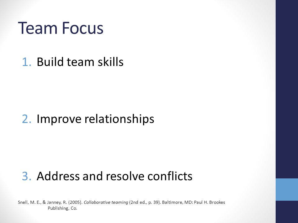 Team Focus Build team skills Improve relationships