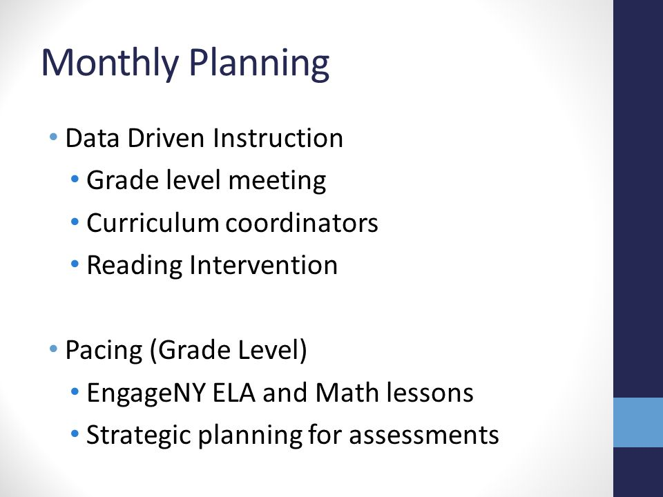 Monthly Planning Data Driven Instruction Grade level meeting