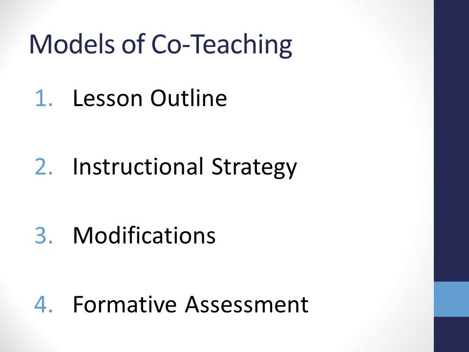 Models of Co-Teaching Lesson Outline Instructional Strategy