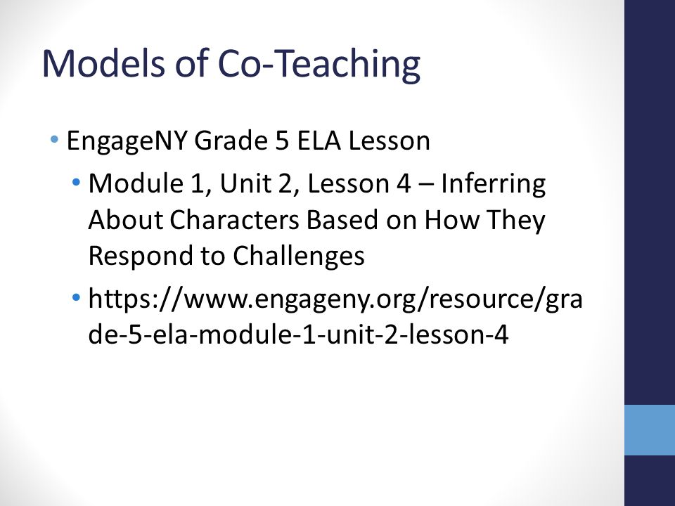Models of Co-Teaching EngageNY Grade 5 ELA Lesson