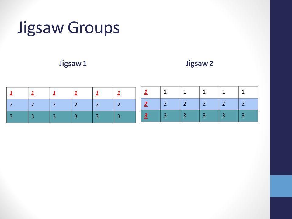 Jigsaw Groups Jigsaw 1 Jigsaw 2 1 2 3 1 2 3