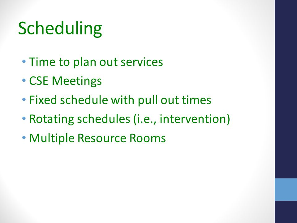 Scheduling Time to plan out services CSE Meetings